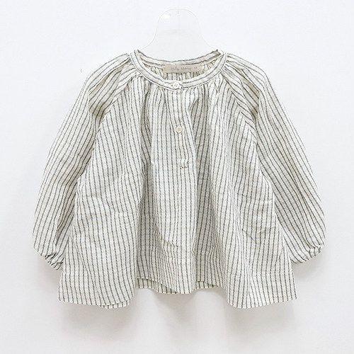 perfectly wrinkled striped linen blouse.  #estella #girls #fashion