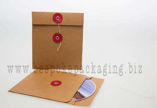 CD/DVD Envelope with string closure.  Available to order from www.bespokepackaging.biz