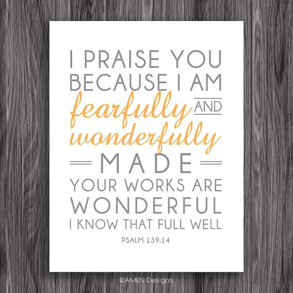 Nursery Decor. Psalm 139:14. 8x10in  DIY Printable Christian Poster.