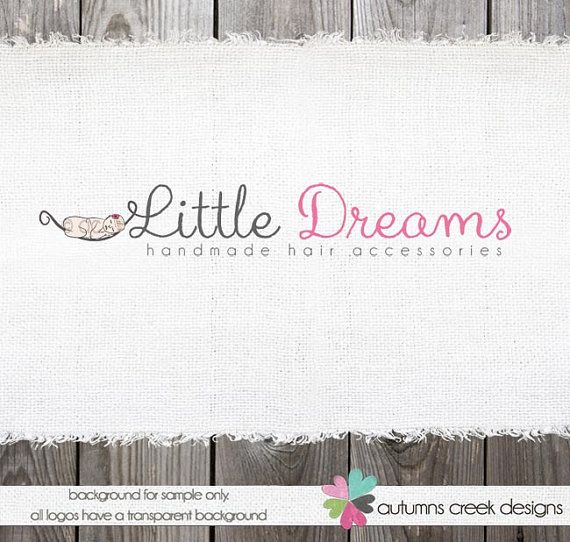 Exclusive logo design newborn baby hat hair clips prop photography illustration logo design ooak hand