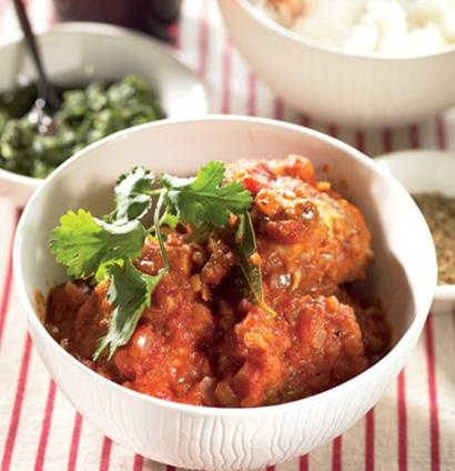 Curried hake with fresh green chutney. This is a good way to serve everyday fish. Serve a lime pickle as well to add extra zing to this mild, aromatic curry. If there's no time to make a fresh chutney, try a bottled mango chutney.