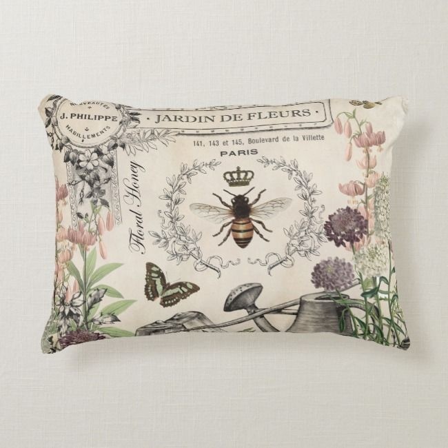 French Bee Garden Decorative Pillow