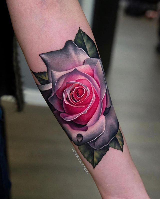 Pink Colored Realism Rose Tattoo On Forearm By Andres Acosta From Austin Texas Check Out Our Instagra Rose Tattoo Forearm Colorful Rose Tattoos Rose Tattoos