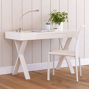 Crisp, simple desk would work great in an office, behind a couch in the family room, or a bedroom. Looks like more expensive versions.