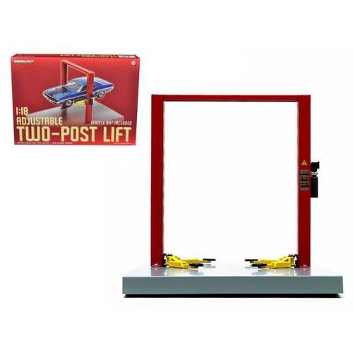 Two Post Lift Red / Yellow For 1/18 Scale Diecast Model Cars by Greenlight