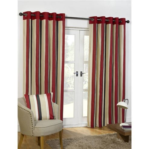 Newquay Eyelet Curtains 229 x 229cm - Black & Red