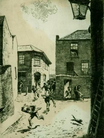 The Travellers Arms Hotel by Lionel Lindsay. Etching, signed 'Lionel Lindsay' lower left, with inscription 'Print on eggshell Whatram Paper of 1815'