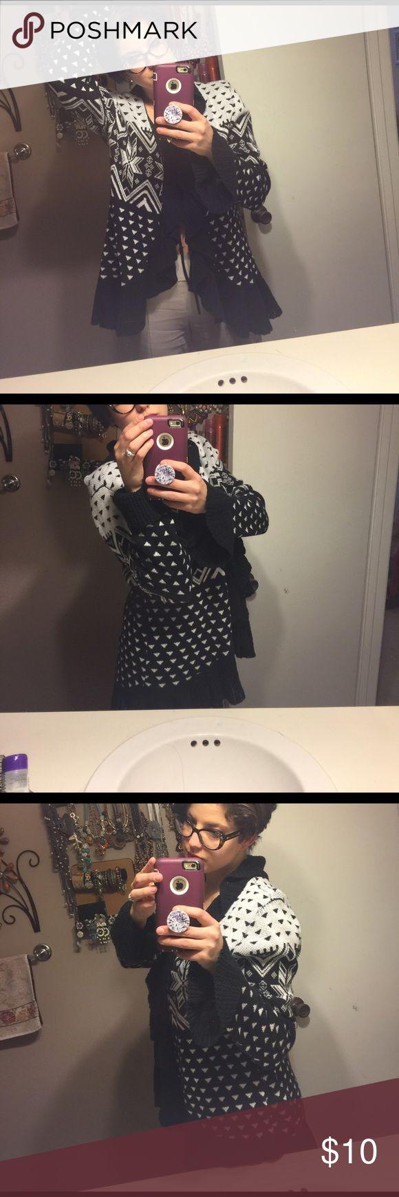 Black and white Aztec print Ruffle cardigan sweater Sweaters Shrugs & Ponchos