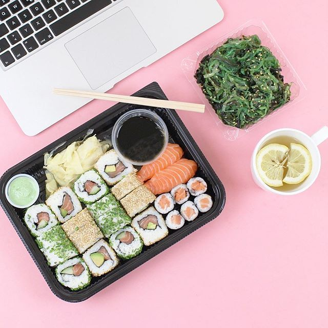 flat lays tb to lunch today sushi businesssnack lunch