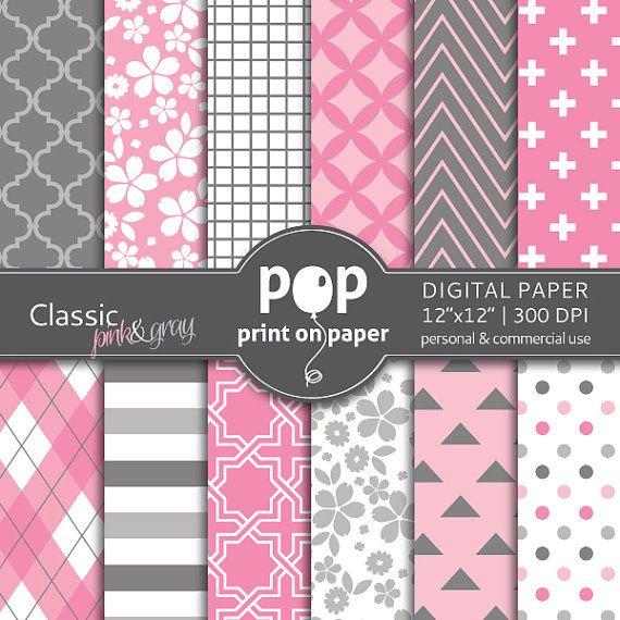 PINK & Gray digital paper CLASSIC digital paper by POP print on paper