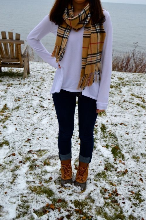 Duck Boots Piko And Blanket Scarf Duck Boots Outfit