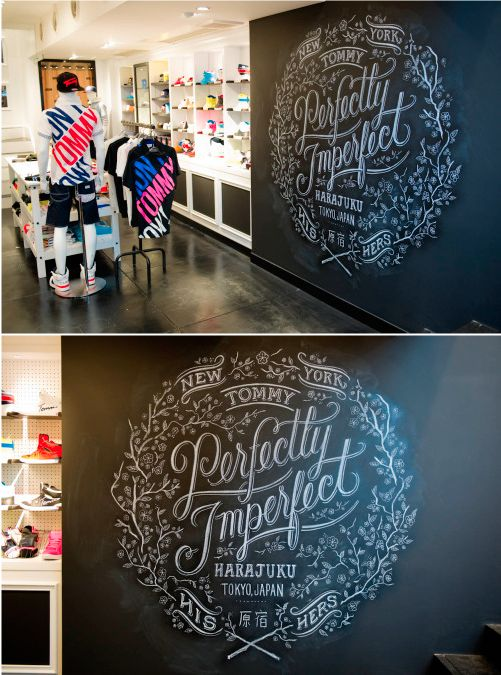 Chalk typography inside the Tommy store in Harajuku by Dana Tanamachi #danatanamachi #chalk #lettering
