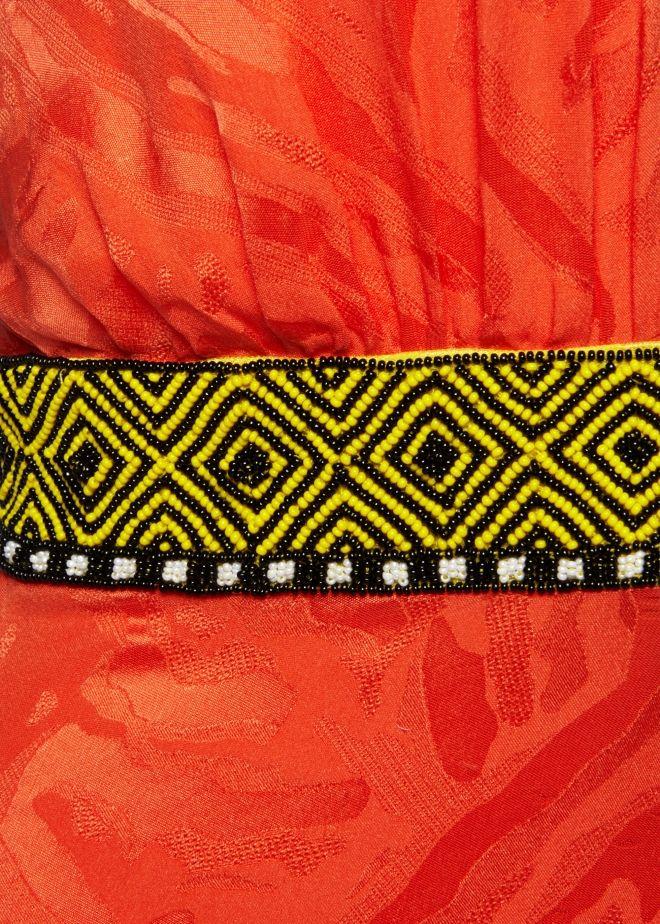 Tangerine Silk Jacquard Halter Dress - Dresses - Matthew Williamson