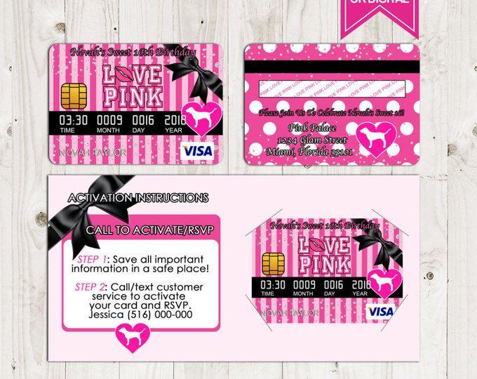 Victoria Secret Love Pink Credit Card Invitation Birthday Invitations Sweet Sixteen Pa Pink Birthday Party Invitations Pink Birthday Party Pink Invitations