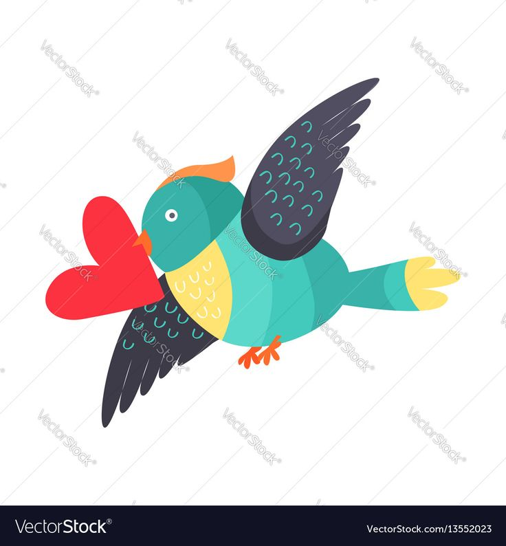 Bird in black, yellow and blue colors with heart in beak flying isolated on white. Bird holds valentines card. Cute cartoon post card design. Valentines day concept vector illustration in flat style. Download a Free Preview or High Quality Adobe Illustrator Ai, EPS, PDF and High Resolution JPEG versions.