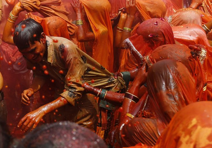 Huranga is a game played between men and women, where they soak each other in liquid color and then the women tear the clothes off men. Women also cover their faces during this game.