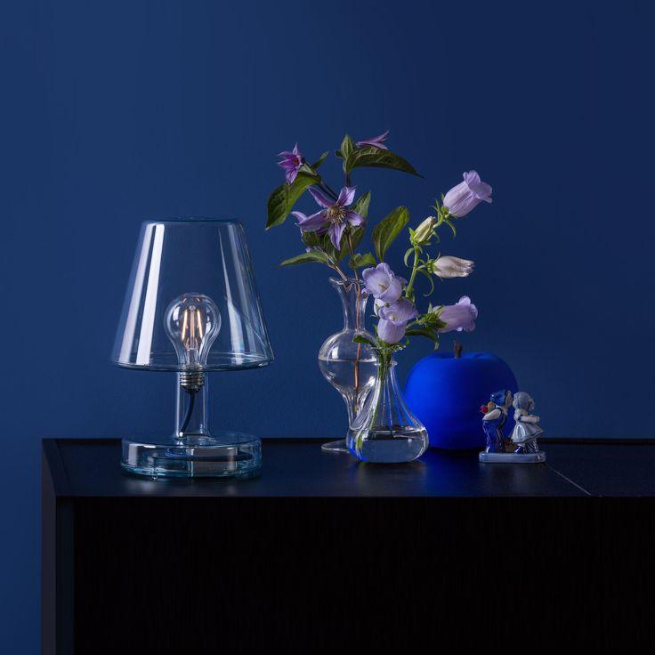 Lampe à Poser LED Rechargeable Bleu H25cm   TRANSLOETJE