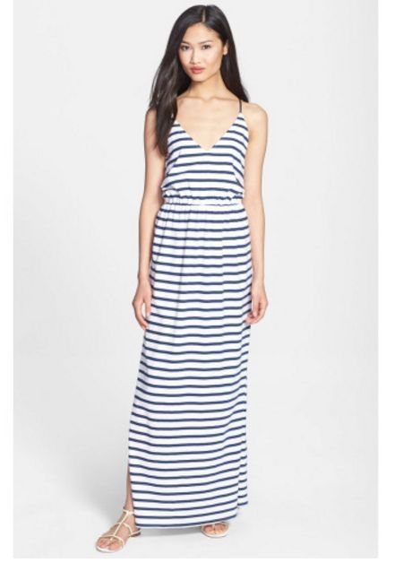 NWT Milly Stripe Jersey 100% Cotton Blue-Striped Maxi Dress (Made in USA) -LARGE
