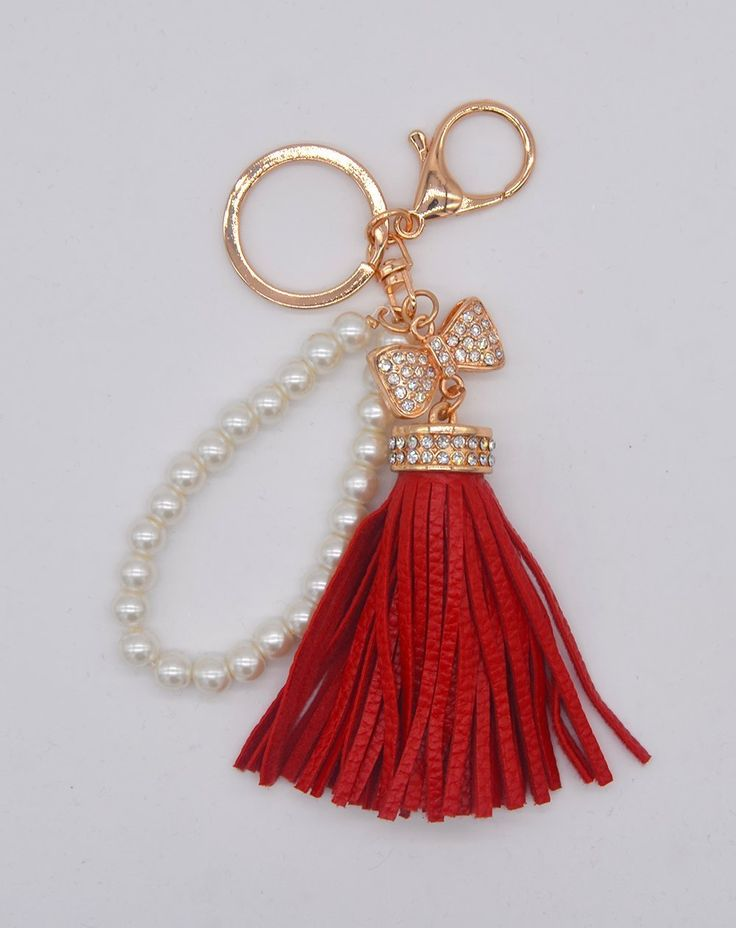 Yinfaxin (Butterfly shape) Fashion Tassel Bag Handbag Key Ring Car Key Pendant , Keyring Women Handbag Charm (red)