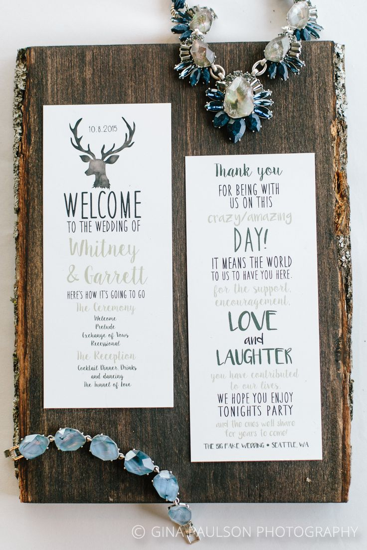 Rustic wedding program by In Style InSpirations and Wedding jewelry