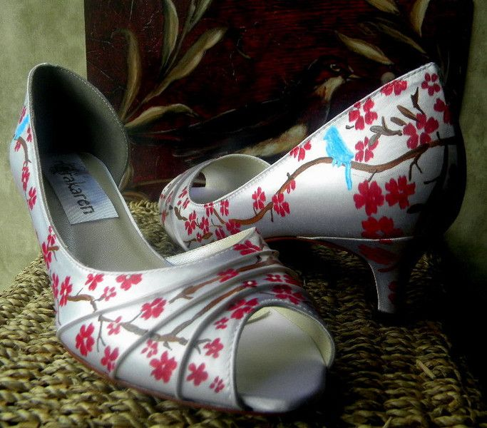 Cherry blossom tree  blue birds painted shoes  from norakaren FASHION DESIGNER by DaWanda.com