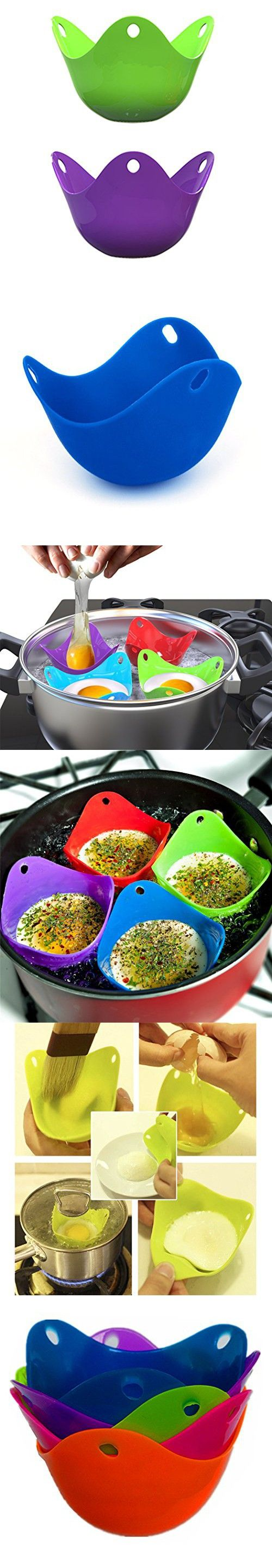 Silicone Egg Poacher 5 in 1 Egg Cookware Cups in Tin Box Packing