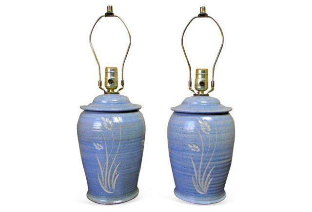 Midcentury Blue Studio Lamps, Pair