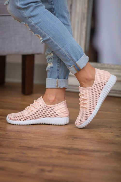 Love these Bonnie Knit Sneakers Light Peach by the Pink Lily Boutique!