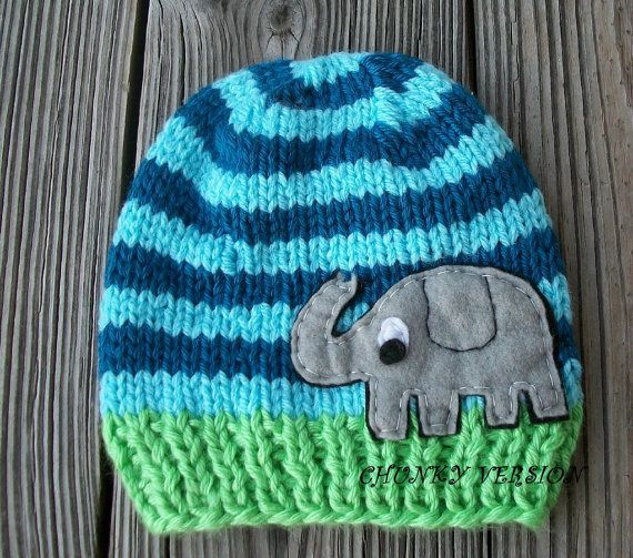 Cable Hat Knit Pattern : Knit FUNKY ELEPHANT Baby Hat Beanie Newborn by NinisHandmades, USD22.00 That co...