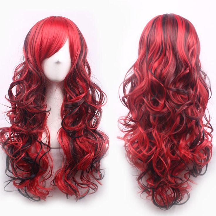 70 cm Mode Sexy Panjang Keriting Bergelombang Cosplay Wanita Wig Rambut Miring Frisette Wig Gadis Hadiah Gelap Merah Hitam Mix