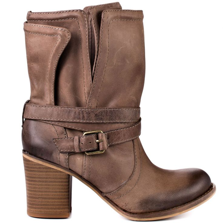 This western inspired BCBGeneration bootie will make you want to ride off into the sunset.  Bekki has a brown leather upper with a slight distressed look. A wrapping buckle and thick 3 inch heel will make it your new favorite boot.