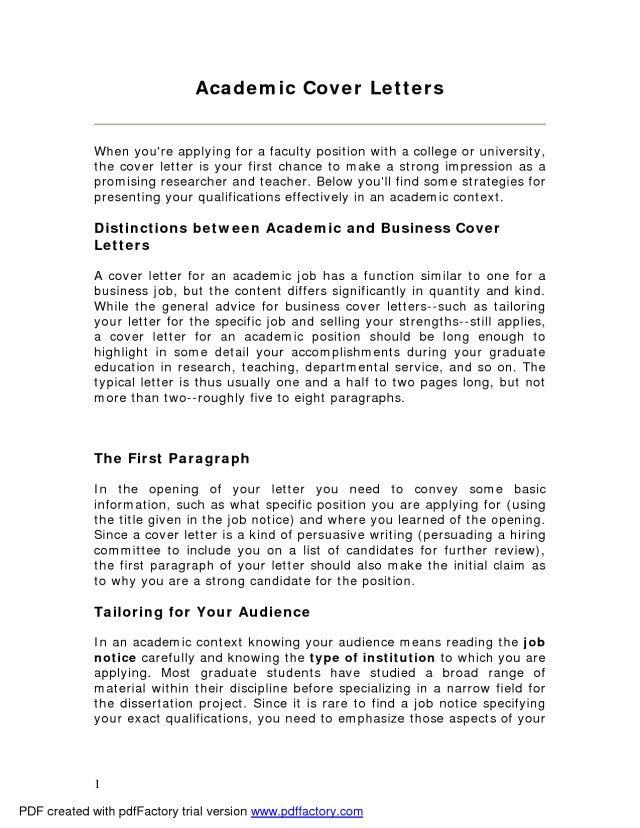 26 Academic Cover Letter Cover Letter Tips Resume Tips Essay