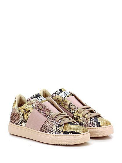 STOKTON - Sneakers - Donna - Sneaker in pelle effetto pitone con fascia elasticizzata frontale e suola in gomma. Tacco 30. - ROSA