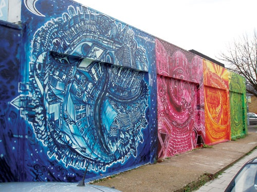 Brockley, South East London, mural at the end of my road. 2004, Artist Louis Henry aka Known.