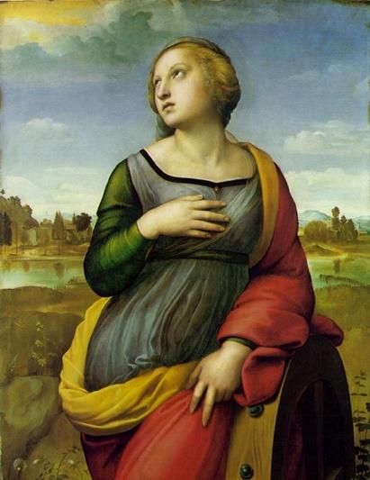라파엘로- 성 캐서린  알렉산드리아 출신의 캐서린은 3세기 인물로서 18살의나이로 로마 황제 막시무스에게 찾아가 철학자들과 논쟁을 하여 승리한 당당한 여성의 표본이며, 카톨릭 계의 성인 중 한 사람이다. 캐서린의 뛰어난 화술에 감동한 황후와 장군들이 가톨릭으로 개종해 버리자 분노한 막시무스 황제는 개종한 고위 관료들과 함께 홍후와 캐서린까지 처형해 버렸다. 캐서린은 쇠못이 박힌 나무 바퀴로 고문을 당한 뒤 교수형을 당했는데 그림속에서 캐서린이 기대고 있는 나무 바퀴가 바로 고난을 상징한다고 볼 수 있겠다. 이 그림속에서 역시 라파엘로의 다빈치에 대한 동경을 엿볼 수 있는데 , 그것은 그림속 캐서린을 다빈치의 '레다와 백조'의 레다와 같은 자세로 그려 넣었기 때문이다