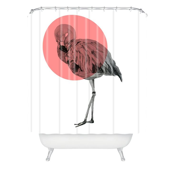 Morgan Kendall coral flamingo Shower Curtain | DENY Designs Home Accessories