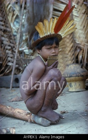 COLOMBIA SOUTH AMERICA VAUPES REGION AMAZON JUNGLE AMAZONIA TURKANO TRIBE YOUNG BOY WITH TATTOOED LEGS AND FEATHER HEADDRESS