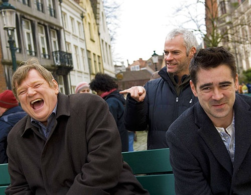 Brendan Gleeson, Martin McDonagh and Colin Farrell on the set of In Bruges (2008)