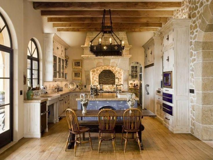 chimeneas originales cocinas forma cocina en forma de u mesas de comedor de madera vigas de madera vigas a la vista cocinas rsticas