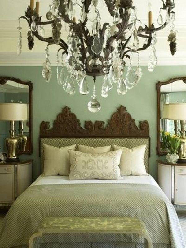 sage green bedroom curtains( like the large mirrors and tall