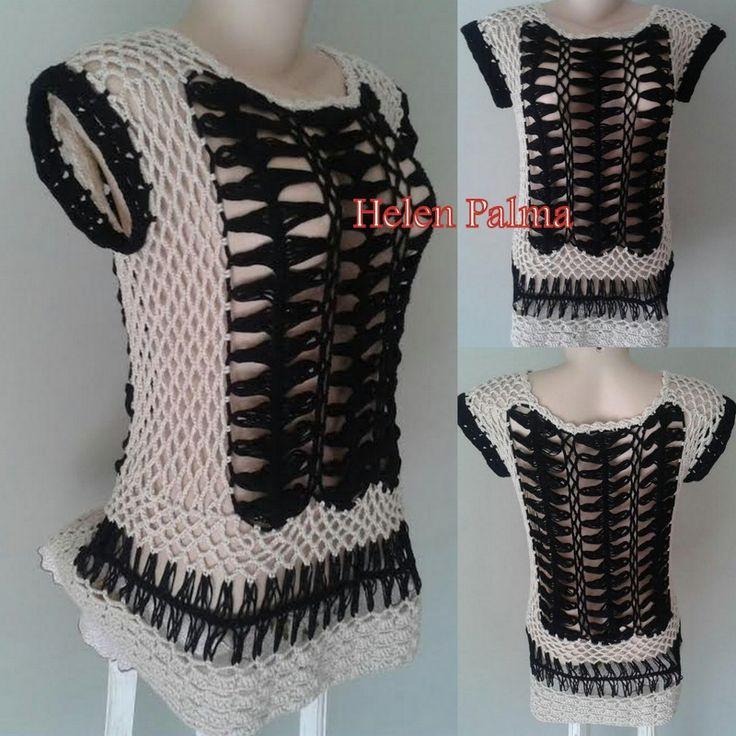 Top / regata crochê de grampo / hairpin lace encomendas hcpalma@gmail.com