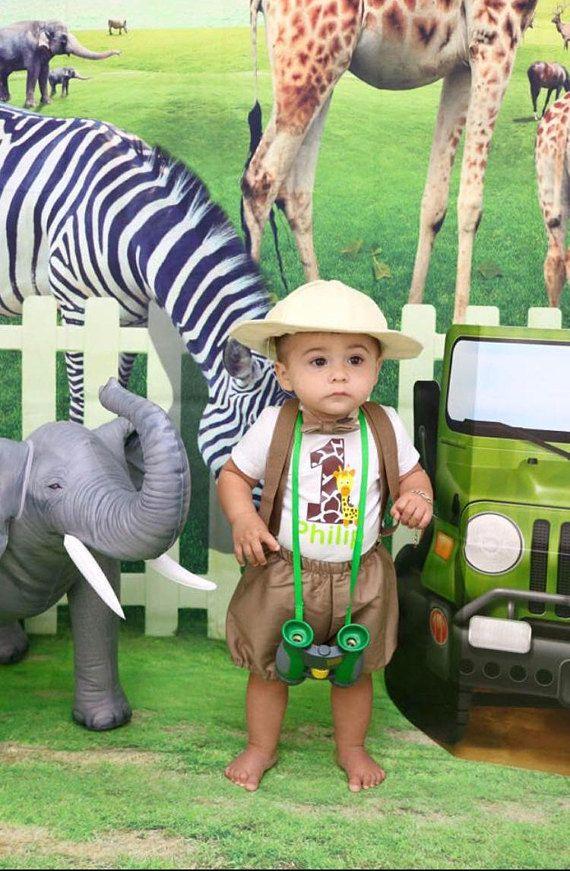 Lion animals Colourful Baby Boys 1st Birthday Cake Smash Outfit// Prop Safari