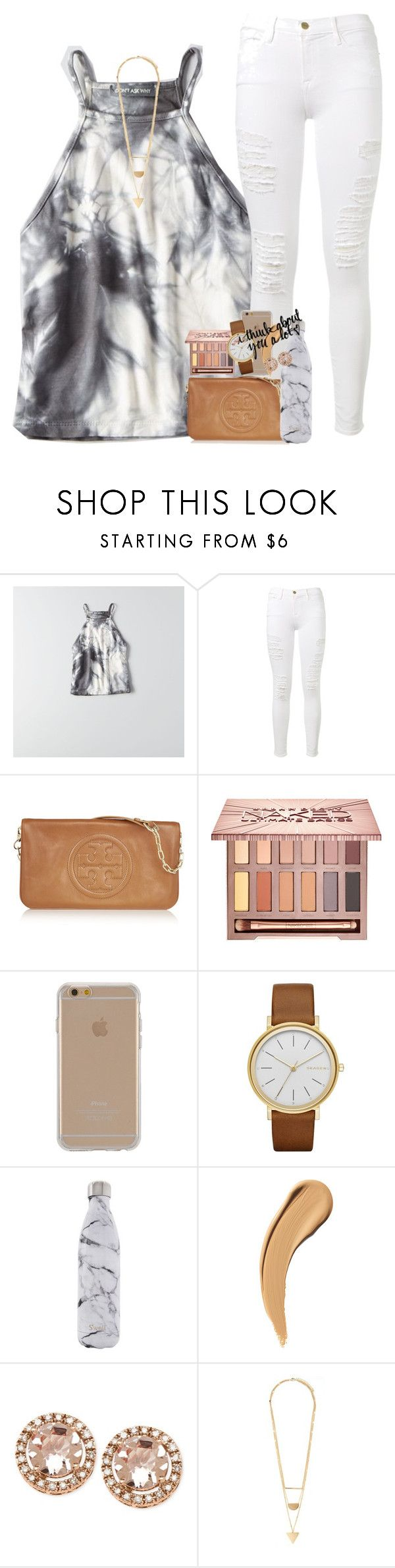 """mixed signals "" by ellaswiftie13 on Polyvore featuring American Eagle Outfitters, Frame Denim, Tory Burch, Urban Decay, Agent 18, Skagen, S'well and Forever 21"