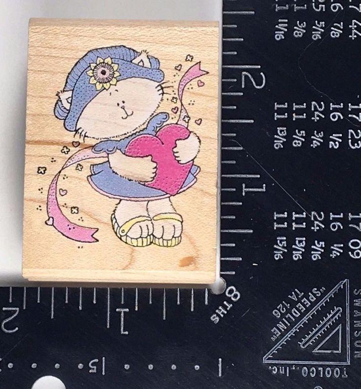 Cat Rubber Stamp KITTEN LOVE Friendship Kitty Heart Ribbon Rubber Stampede #W03 #RubberStampede