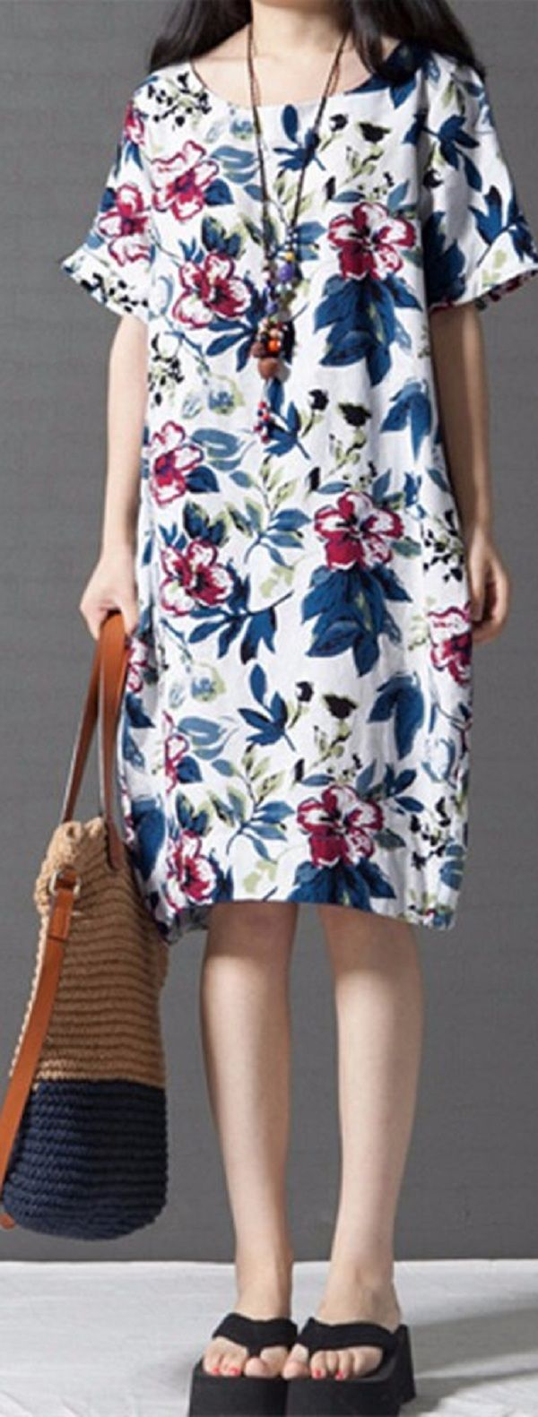 US$ 11.53 Vintage Women Short Sleeve Baggy Floral Printed Cotton Dress