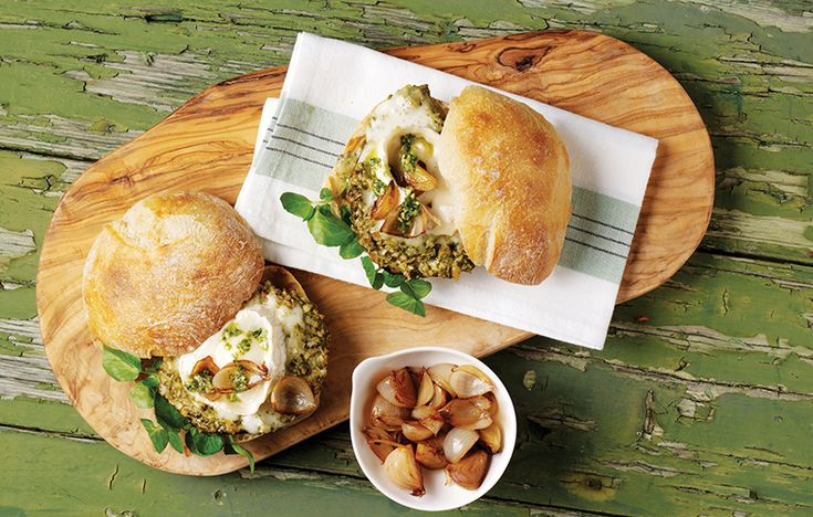 Pesto, goat's cheese and mushroom burgers. Follow link for full recipe from appetite, North East England's dedicated food & drink publication.