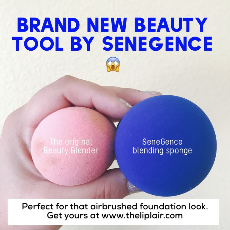 New blending sponge by SeneGence International. Original beauty blender on the left dampened and at full size ($20) and the new SeneGence blender dampened at full size on the right ($3)! Get yours today at www.theliplair.com or message me #beautyblender #makeupsponge #makeup #airbrush #foundation #lipsense