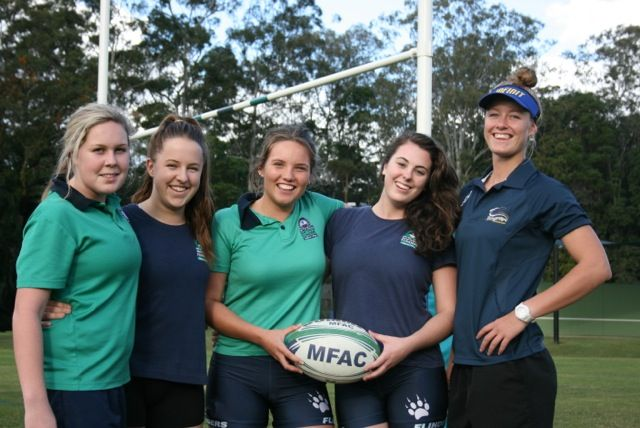 Jo Kerr and the Matthew Flinders team she coaches.
