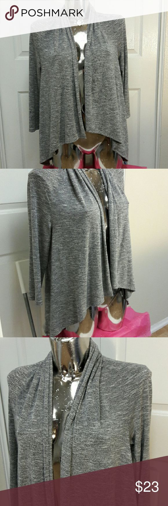 """LOFT Lightweight Soft Sweater/Cover Up Super Like New just missing tags!! Excellent condition from Loft, womens size S. Super soft - lightweight - has some stretch - color is gray with white. Armpit to end of sleeve: 13"""" - Armpit to bottom hem: 20"""" Has a wavy/uneven bottom for flowyness. ... Ask me anything! LOFT Sweaters"""