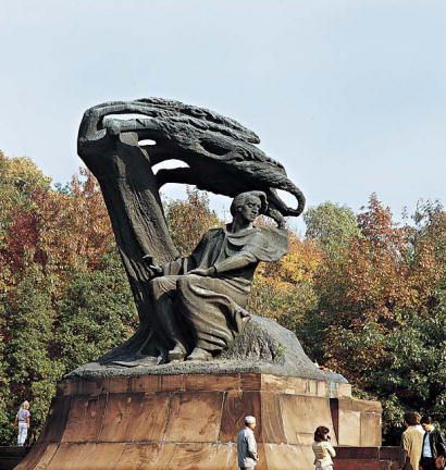 According to Icons of Europe, Waclaw Szymanowski's sculpture portrays Chopin siiting under an uprooted tree as Orpheus does in Ovid poem.However, Icons of Europe has concluded that the sculpture more likely refers to Orpheus sitting under a 'tree uprooted by the power of his music'.  Waclaw Szymanowski (1859-1930), the Polish sculptor, created his massive Chopin monument in Paris around 1902, before it was placed at Lazienki Park in Warsaw in 1926.¹